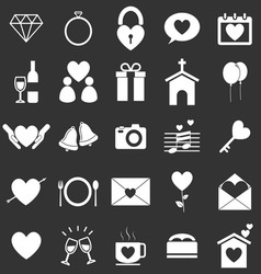 Wedding icons on black background vector image
