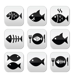 Fish fish on plate skeleton vecotor buttons vector image