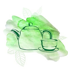 Green tea watercolor vector