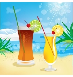 Seaside view with tropical cocktails vector