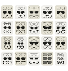 25 fashionable glasses simple icons set vector
