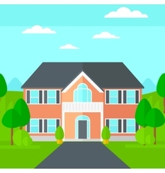 Background of house with beautiful landscape and vector