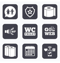 Toilet paper icons gents and ladies room vector