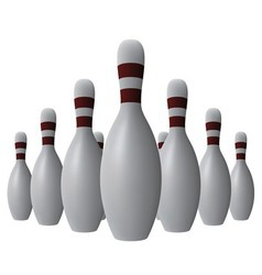 Ten bowling pins vector