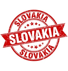 Slovakia red round grunge vintage ribbon stamp vector