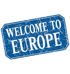 Welcome to europe blue square grunge stamp vector
