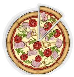 Pizza with bacon color picture sticker vector