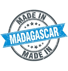 Made in madagascar blue round vintage stamp vector
