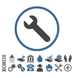 Wrench flat rounded icon with bonus vector