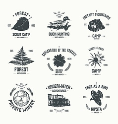 Adventure camp emblems vector
