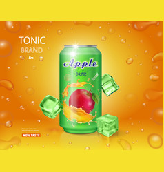Alumimium tin of apple juice dink advertising vector
