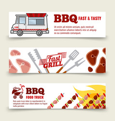 bbq and steak horizontal banners template meat vector image vector image