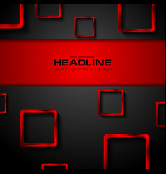 black tech background and red metallic squares vector image vector image