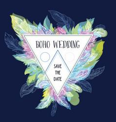 Boho wedding card template vector