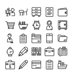 Business and office line icons 8 vector