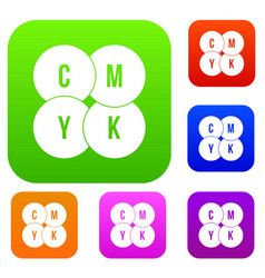 Cmyk circles set collection vector