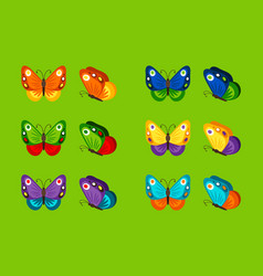 Colorful butterflies icons vector
