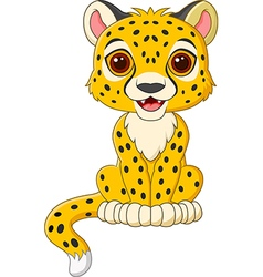 Cute baby cheetah sitting isolated vector image