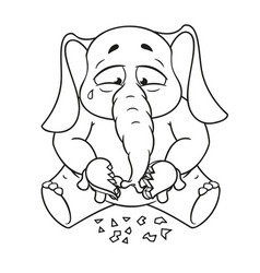 Elephant broken heart in his hands vector
