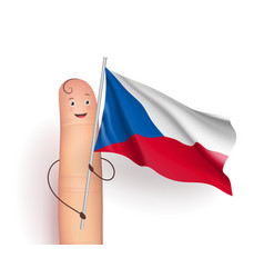 Finger with czech republic waving flag vector