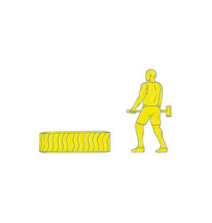 Fitness athlete hammer workout drawing vector