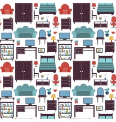 Furniture seamless pattern vector image vector image