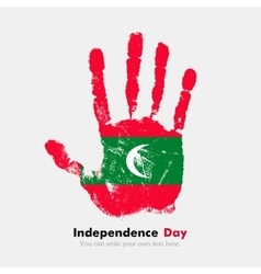 Handprint with the flag of maldives in grunge vector