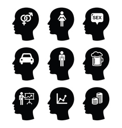 Head man thoughts icons set vector image vector image
