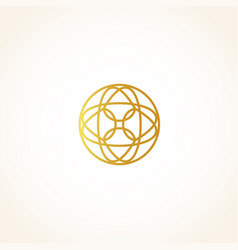 Isolated abstract round shape golden color logo vector