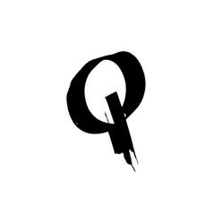 Letter q handwritten by dry brush rough strokes vector
