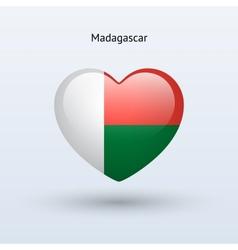 Love Madagascar symbol Heart flag icon vector image