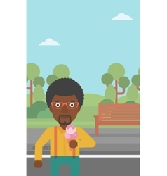 Man holding icecream vector