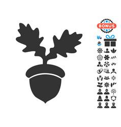Oak acorn icon with free bonus vector