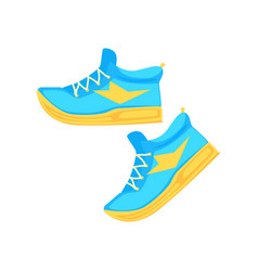 Pair of light blue athletic shoes cartoon vector