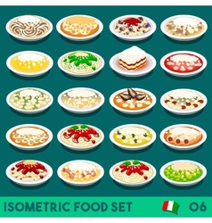 Pasta set 06 food isometric vector