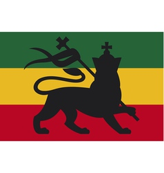 rastafarian flag with the lion of judah vector image