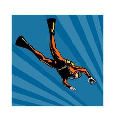 Scuba diver diving vector