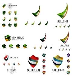 Set of company logotype branding designs shield vector
