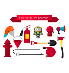 Set of firefighting items fire protection vector