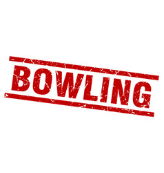 Square grunge red bowling stamp vector