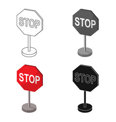 stop road sign icon in cartoon style isolated on vector image vector image