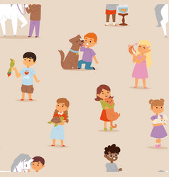 toddler cartoon kids characters little pets vector image