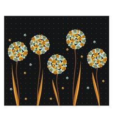 Vintage flowers on a black background vector image vector image