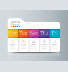 Weekly planner monday - friday infographics design vector