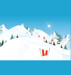 Winter mountain landscape with pair of skis in vector