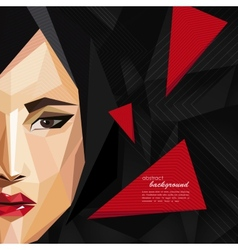 with an asian woman face in low-polygonal style vector image vector image