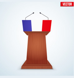Wooden podium tribune with french flag vector