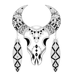 Zentangle animal skull feathers vector