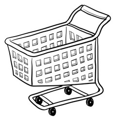 Doodle shopping cart vector