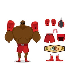Boxer and accessory set sportsman champion sport vector